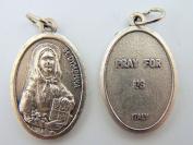 Saint St Dymphna Religious Charm Pendant Pray For Us Silver Gild Italian Medal