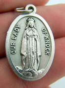 Our Lady Of Knock Religious Charm Pendant Pray For Us Silver Gild Italian Medal