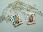 Silver Metal Sacred Heart Our Lady Mt Carmel Peace Protection Carded Scapular