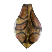 MURANO GLASS LEAF PENDANT 59X36MM LEOPARD BROWN AND GOLD