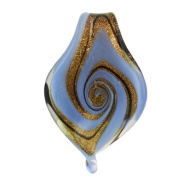 MURANO GLASS PENDANT 60X38MM LEOPARD BROWN GOLD LIGHT BLUE SWIRL LEAF