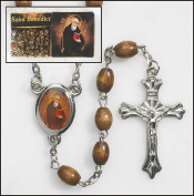 Saint Benedict St Centrepiece Wooden Oval Beads Religious Christian Rosary