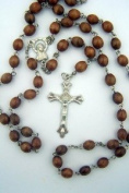 Mens Womens Catholic Gift 8MM Brown Wood Bead Silver Virgin Mary Rosary Necklace