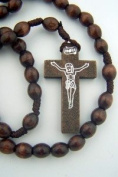 Boys Girls Catholic Gift 8MM Dark Brown Wood Bead Corded Prayer Rosary Necklace