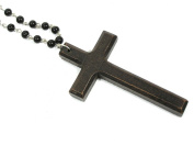 Wood Cross Necklace Vintage Rosary Bead Chain Christian Charm Antique Prayer Pendant Fashion Jewellery