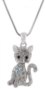 Ladies Silver Iced Out Cat with Heart Pendant with a 40.6cm Adjustable Snake Franco Chain Necklace