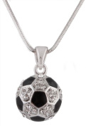 Ladies Silver with Black & White Iced Out Soccer Ball Pendant with an 45.7cm Snake Franco Chain Necklace
