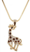 Ladies Gold with Brown Iced Out Giraffe Pendant with a 40.6cm Snake Franco Necklace Chain