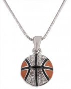 Ladies Silver with Black & Orange Iced Out Basketball Pendant with an 45.7cm Snake Franco Chain Necklace