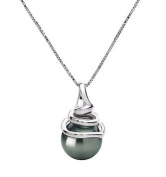 PearlsOnly Demetria Black 8.0-8.5mm AAA Tahitian 14k White Gold Cultured Pearl Pendant