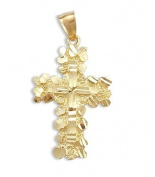 Nugget Cross Pendant 14k Yellow Gold Heavy Charm