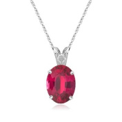 0.35 Cts of 5x3 mm Oval AA Ruby Scroll Pendant in Platinum