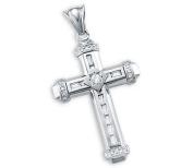 14k White Gold New Large Cross Crucifix Charm Pendant