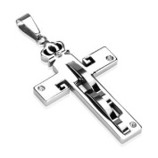 316L Stainless Steel Crowned Cross with 4 Clear CZs Pendant w/ Stainless Steel Ball Chain; Comes With Free Gift Box