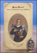 Saint Gerard Patron of Motherhood and Childbirth Cardstock Holy Prayer Card w/ 2.5cm Silver Gild St Medal
