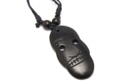 Tribal Mask Pendant Carved from Kamagong Wood with Adjustable Black Cotton Wax Cord Necklace