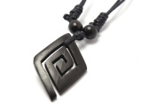 Maori Style Diamond Pendant Carved from Kamagong Wood with Adjustable Black Cotton Wax Cord Necklace