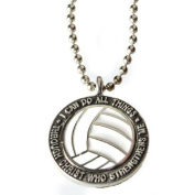 "Forgiven Jewellery - Colourful Volleyball Pendant Necklace ""I Can Do All Things Through Christ"""
