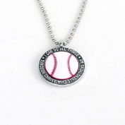 "Forgiven Jewellery - Colourful Baseball Pendant Necklace ""I Can Do All Things Through Christ"""