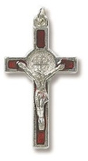 "DR - Red Enamel Silver Crucifix (Cross) St. Benedict Medal. In addition to the unconditional indulgence, a partial indulgence is given to anyone who will ""wear, kiss or hold the Medal between the hands with veneration"". Over the years, many miracles have"