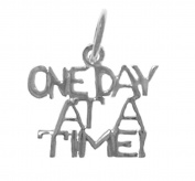 """Alcoholics Anonymous Saying Pendant #145-15, 1.4cm Wide and 1.3cm Tall, Sterling Silver, """"One Day at a Time"""""""