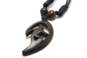 Hand Carved Surfer in Wave Pendant Carved from Kamagong Wood with Adjustable Black Cotton Wax Cord Necklace