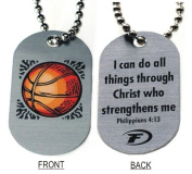 "Forgiven Jewellery - Aluminium Dog Tags- Colourful Basketball Pendant Necklace ""I Can Do All Things Through Christ"""
