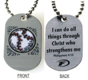 "Forgiven Jewellery - Aluminium Dog Tags- Colourful Baseball Pendant Necklace ""I Can Do All Things Through Christ"""