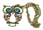 Brass Plated Rhinestone Long Owl Necklace, Large Pendant Owl Necklace