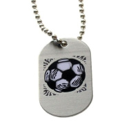 "Forgiven Jewellery - Aluminium Dog Tags- Colourful Soccer Pendant Necklace ""I Can Do All Things Through Christ"""