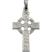 14K White Gold 40.00 X 25.00 Mm Fancy Celtic Cross Pendant