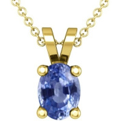 14K Yellow Gold Oval Cut Blue Sapphire Solitaire Pendant