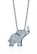 "Alex Woo ""Little Luck"" Diamond and 14k White Gold Elephant Pendant Necklace, 40.6cm"