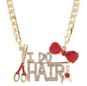 Ladies Gold with Red Bow Tie & I Do Hair Pendant with a 55.9cm Adjustable Link Necklace