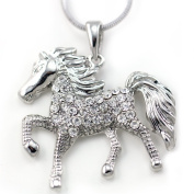 White Horse Pony Mustang Animal Pendant Necklace High Polish Silver Tone Clear Crystal Animal Jewellery