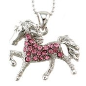 Light Pink Horse Pony Mustang Animal Pendant Necklace Western Charm High Polish Silver Tone Ladies Teens Girls Women Fashion Jewellery