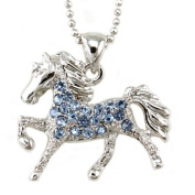 Light Sky Blue Horse Pony Mustang Animal Pendant Necklace Western Charm High Polish Silver Tone Ladies Teens Girls Women Fashion Jewellery