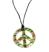 Lilly Rocket 61cm Murano Glass Style Peace Pendant on Black Cord Necklace