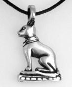 Pewter Cat Egyptian Goddess Bast Pendant on Leather Necklace