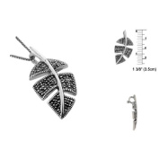 Sterling Silver Leaf Pendant with Marcasite