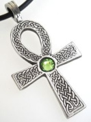 Pewter Ankh Pendant w. Crystal Peridot August Birthstone, Leather Necklace