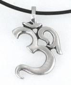 Pewter Ohm Om Yoga Buddha Namaste Pendant on Leather Necklace