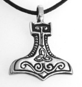 Pewter Thor's Hammer with Triquetra Mjolnir Viking Pendant, Leather Necklace