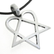 Pewter Heartagram HIM Pentagram and Heart Pendant on Leather Necklace