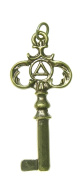 AA Alcoholics Anonymous Recovery Symbol Pendant #1023, 2.1cm Wide and 1-2.4cm Tall, Antiqued Brass, Two Sided Old Style Key with Small AA Symbol