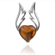 Sterling Silver Amber Heart Small Pendant