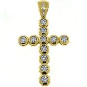 14k Yellow Gold Round Diamond Cross Pendant 3.41 Carats
