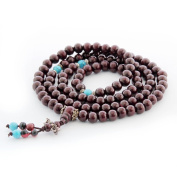 8mm 108 Wood Beads Buddhist Prayer Meditation Wrist Mala Necklace