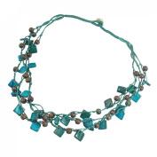 Rosallini Blue Brown Nylon Cord Braid 3 Layer Pendant Square Coco Beaded Necklace Chain