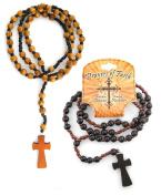 Prayers Of Faith Wooden Bead Rosary Necklace